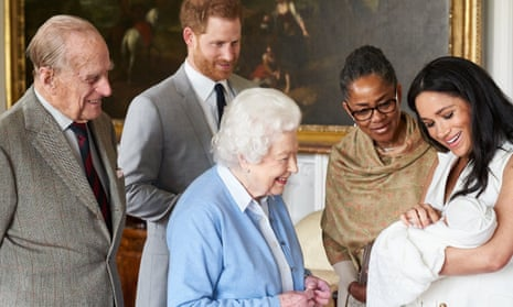 The Duke and Duchess of Sussex are joined by her mother, Doria Ragland, as they show their new son, Archie Harrison Mountbatten-Windsor, to the Queen and Duke of Edinburgh.