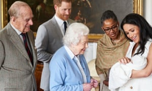 The Duke and Duchess of Sussex, with Meghan's mother, Doria Ragland, show their newborn son, Archie, to the Queen and Prince Philip.