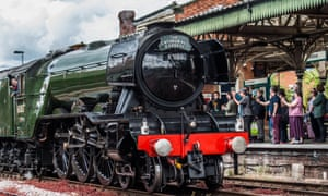 Steam locomotive LNER Class A3 4472, commonly known as the Flying Scotsman, at Hereford railway station.
