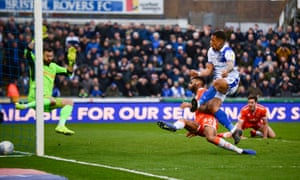 Clarke-Harris pounces to round off a hat-trick against Blackpool in March.