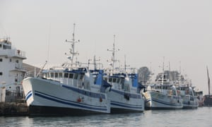 Newly built fishing vessels dock at Maputo harbour in Mozambique