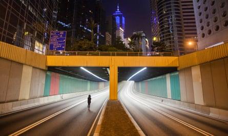 Woman alone in Hong Kong
