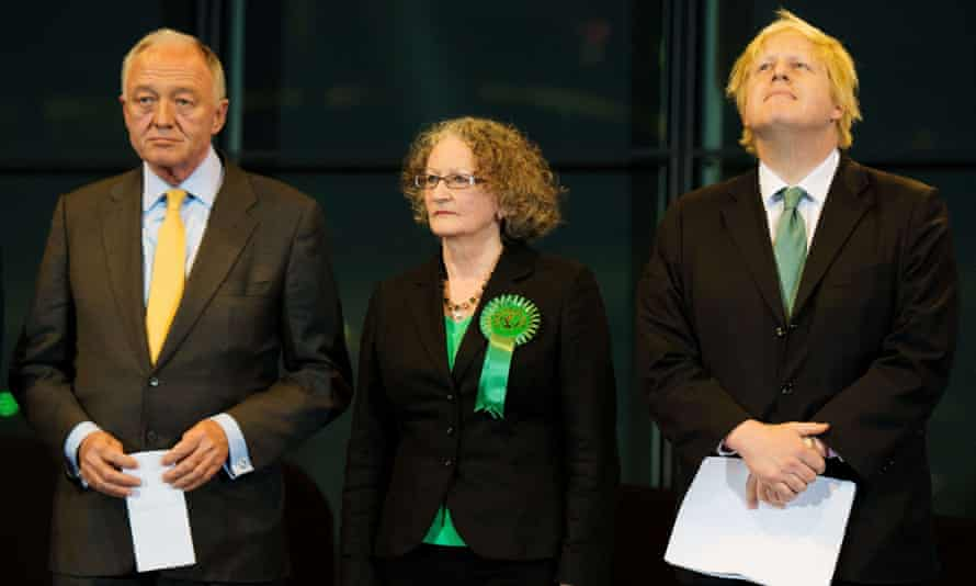 Jenny Jones listens along with rival candidates Ken Livingstone and Boris Johnson listen to the results of the London mayoral elections in 2012.