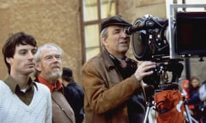 Ingmar Bergman lines up a shot on the set of Fanny and Alexander.