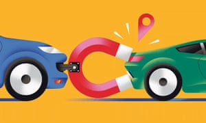 Illustration of a car pulling another one back with a magnet