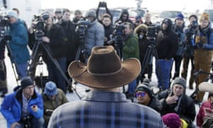 Ammon Bundy, one of the sons of Nevada rancher Cliven Bundy, speaks to reporters during a news conference at Malheur national wildlife refuge on Wednesday.