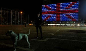 The building of the city hall in Tel Aviv's Rabin square is illuminated in solidarity for the attack on Westminster.