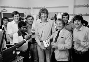 Bat maker Duncan Fearnley (third right) presents winners' cheques to Warwickshire captain Bob Willis and his team after Warwickshire won the John Player League in September 1980. Other Warwickshire players pictured are (from left) Chris Maynard, David Brown (with trophy), Alvin Kallicharran, Dennis Amiss, Steve Rouse and Philip Oliver.