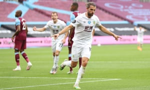 Jay Rodriguez celebrates scoring for Burnley at West Ham