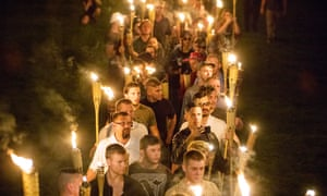 US white supremacists march in Charlottesville, Virginia, US, in 2017.
