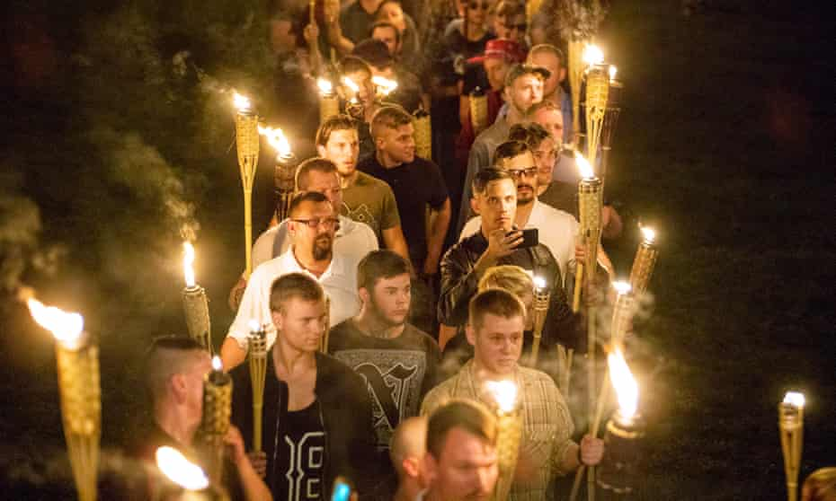 On the night of 11 August dozens of far-right activists with flaming torches marched through Charlottesville, shouting slogans of hate.