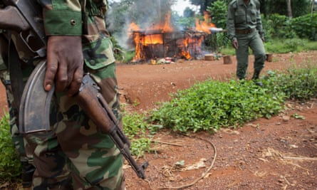Ecoguards burn down an illegal poachers' camp, Republic of the Congo