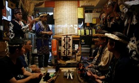 An Ainu ritual ceremony.