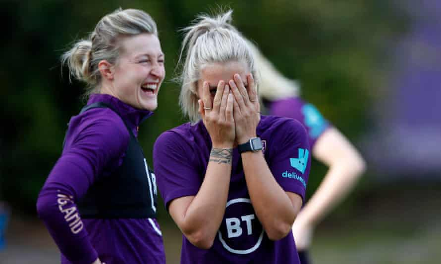 Ellen White (left) and Rachel Daly share a laugh during an England training session in Florida.