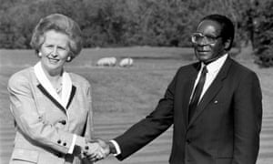 Margaret Thatcher and Robert Mugabe in 1988.