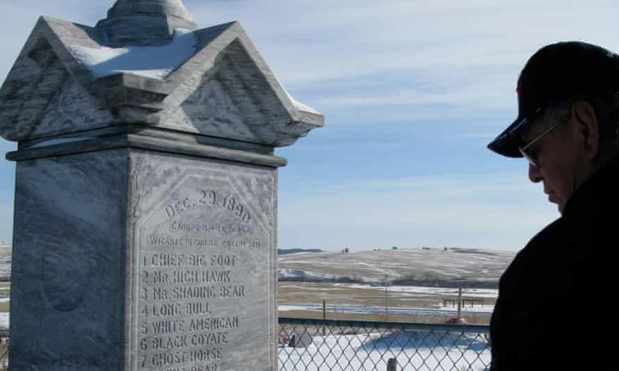 A monument marking the mass grave of men, women and children killed in the 1890 Wounded Knee massacre by the US army.