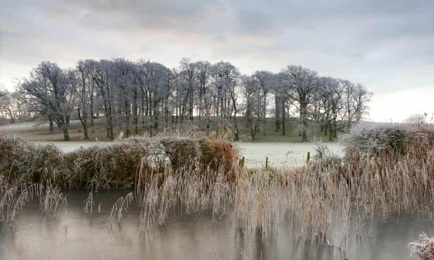 Frost covers the fields and trees around Arundel, West Sussex.