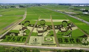 Japan players Michael Leitch (centre), Kazuki Himeno (left) and Fumiaki Tanaka portrayed on paddy fields in Gyoda, Saitama Prefecture, near Tokyo