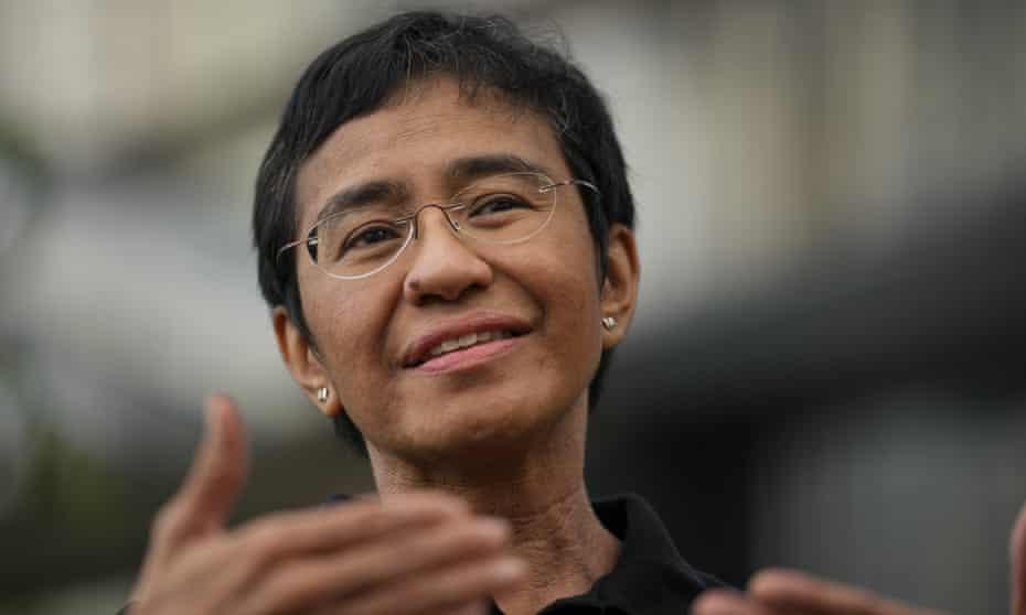 Veteran Philippine journalist and Nobel peace prize-winner Maria Ressa gestures during an interview on 9 October, 2021.