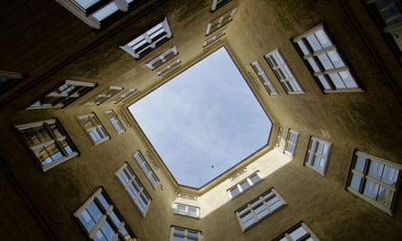The view from the courtyard of an apartment block in Vienna.