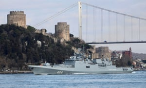 The Russian navy's frigate Admiral Grigorovich in Istanbul.