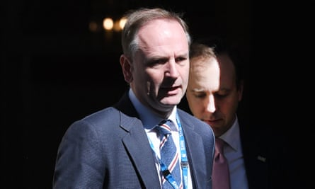 Simon Stevens, CEO of NHS England, and Matt Hancock, leave No 10 Downing Street.
