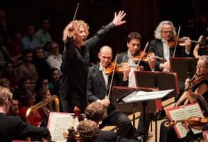 Expressive to his fingertips … Santtu-Matias Rouvali conducts the Philharmonia