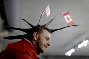 This Canadian fan adopted a punk-look to patriotism at the Winter Games