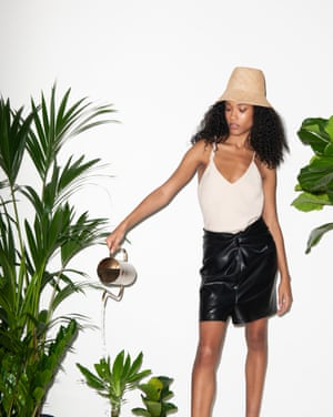 Hat, from a selection, top, £210, and skirt, £295, all by Nanushka