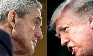 Robert Mueller in 2013, when he was FBI director, and Donald Trump last year.