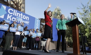 Senate candidate Catherine Cortez Masto (left) with Senator Elizabeth Warren at a rally in Las Vegas.
