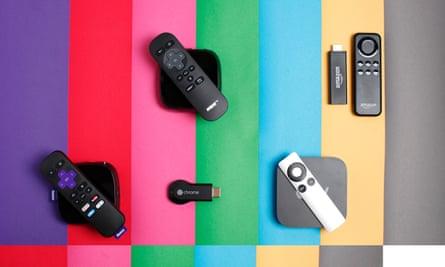 roku 2, now tv box, chromecast, apple tv and Amazon fire tv stick