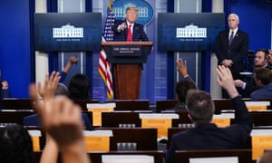 Donald Trump speaks during the daily briefing on the coronavirus at the White House on 8 April 2020.