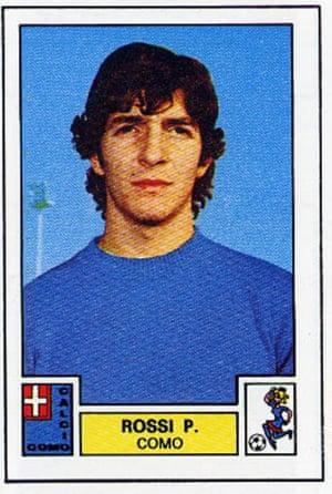 A Panini sticker shows Paolo Rossi in a blue Como kit.