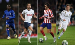 N'Golo Kanté of Chelsea, Tottenham Hotspur's Harry Kane, João Felix of Atlético Madrid and Real Madrid's Luka Modric.