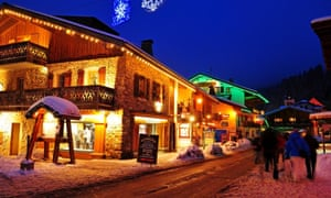 At night, a street in the ski resort of Les Gets, France