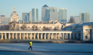 London's financial district, seen behind the Old Royal Naval College from Greenwich Park.