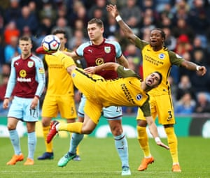 Brighton's Biram Kayal is challenged Sam Vokes of Burnley during the goalless draw at Turf Moor.