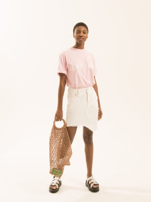 pale pink t-shirt with Helmut Lang logo in white on the front by Helmut Lang white denim skirt with a-symmetric hem by SJYP from brownsfashion.com silver gladiator style sandals drmartens.com brown mesh bag mango.com