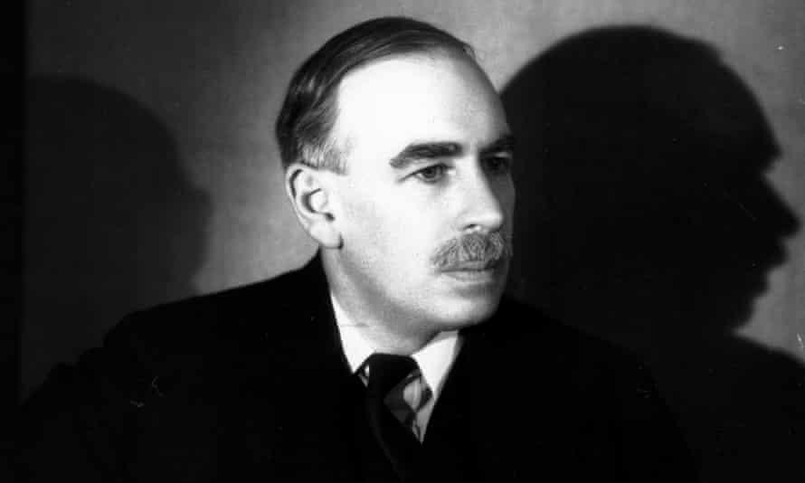 A black-and-white portrait of John Maynard Keynes