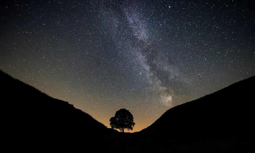 Milky Way seen from Sycamore Gap at Hadrian's Wall in Northumberland