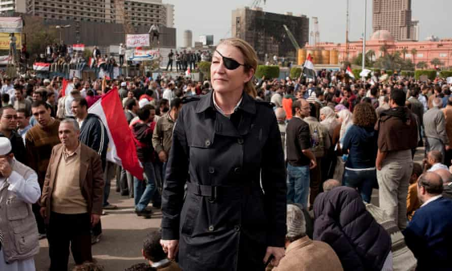 Marie Colvin covering the 2011 uprising in Tahrir Square, Cairo. A year later she was killed in Syria.