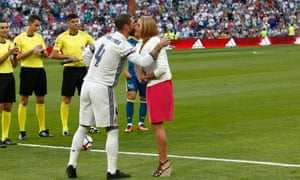 Sergio Ramos greets Olympic double gold medallist Mireia Belmonte before kick-off.