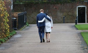 Prince Harry and Meghan Markle after announcing their engagement at Kensington Palace on 27 November