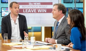 Martin Lewis on TV with Piers Morgan and Susanna Reid the morning after the 2016 EU referendum.