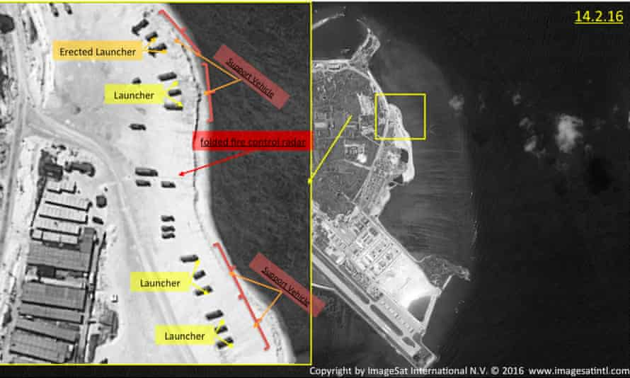 This image provided by ImageSat International shows satellite images of Woody Island and suspected Chinese missile launcher deployments.