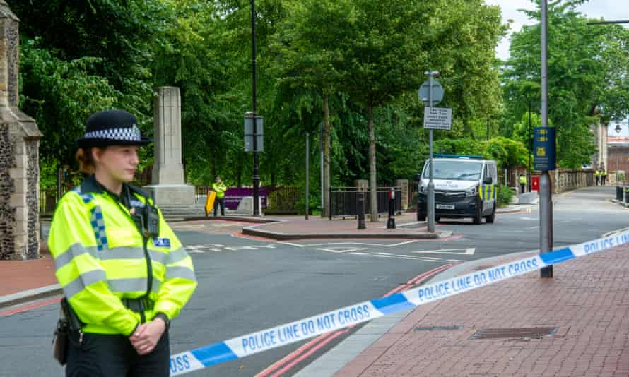 Police outside Forbury Gardens, Reading, scene of a suspected terror attack