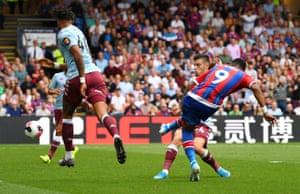Crystal Palace's Jordan Ayew scores their first goal.