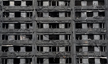 Extensive damage is seen to Grenfell Tower