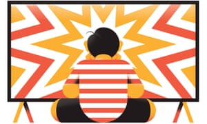 Illustration of child sitting cross-legged in front of screen